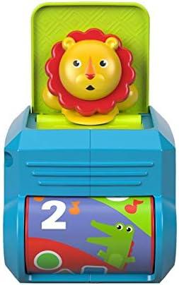Fisher-  Boîte Lion Surprise jouet bébé avec mélodies et sons amusants, 6 mois et plus, FHF77 | Belle Et Charmante