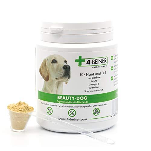 4-BEINER BEAUTY-DOG - splendido pelo, vitamine per cani con omega 3, MSM, vitamina B complessa vitamina C, biotina, cardo mariano, olio di cumino nero e zinco, iodio, selenio, 80g di polvere