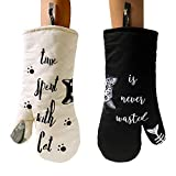 AIYUE 1 Pair Kitchen Oven Gloves Mitts Heat Resistant Up to 482℉, 100% Cotton Twill Quilted Kitchen Thickening Cooking Baking Grilling BBQ Gloves/Mitts, Barbecue Potholder, Machine Washable