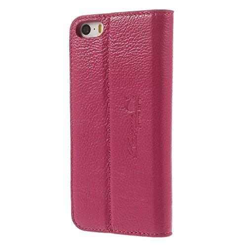 iPhone 66S echtem Premium Leder Brieftasche Hülle Case Ständer Flip Cover + 2Displayschutzfolie, Leder, weiß, iPhone SE/5S/5 rose