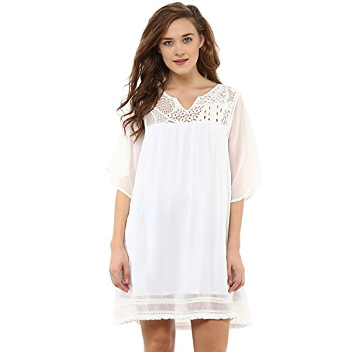 Femella Fashion's White Lace Yoke Dress