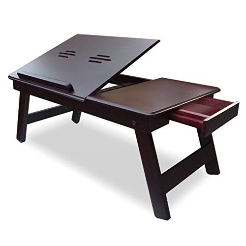 SRS MDF Matte Brown Portable/Bed Folding Laptop Table With Drawer