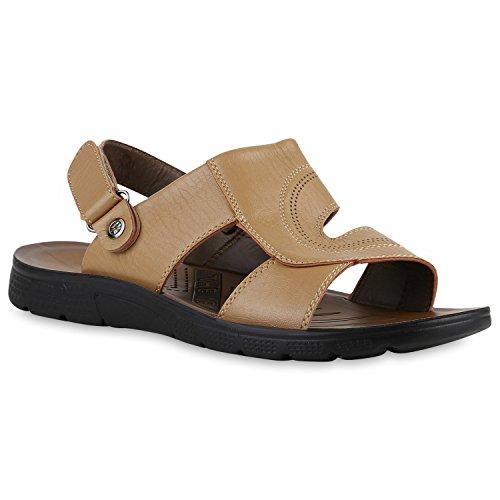 Herren Komfort Sandalen Bequeme Freizeit Schuhe Lederoptik Khaki Camiri
