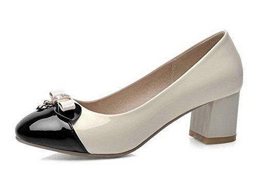 AgooLar Damen Eingelegt Pu Leder Mittler Absatz Quadratisch Zehe Ziehen Auf Pumps Schuhe Cremefarben