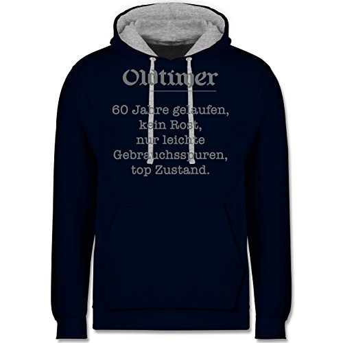 Geburtstag - 60. Geburtstag Oldtimer Fun Geschenk - Kontrast Hoodie Dunkelblau/Grau meliert