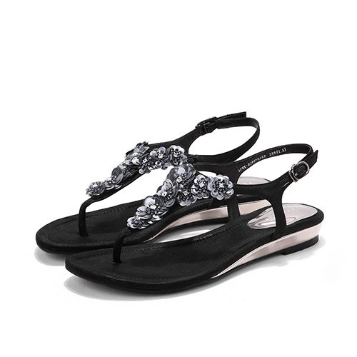 56eac79eedabfc LGK FA Summer Women S Sandals Flowers Toe Sandals Summer All-Match Comfort  Fashion With Flat Shoes 39 Black - Buy Online in Oman.