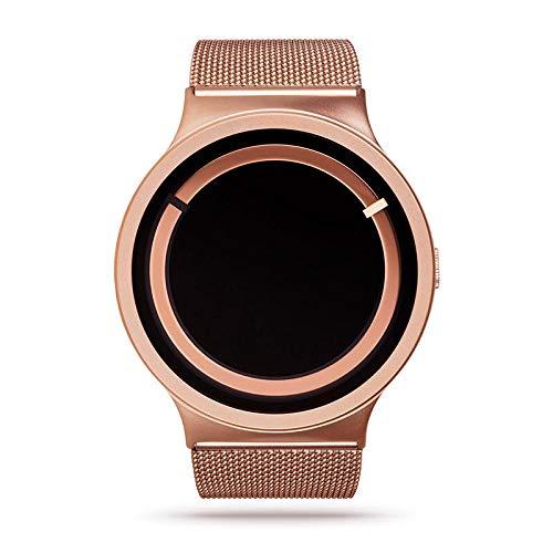 Quarzuhr Swirl Element Kreative New Concept Pointer Quarzuhr Schwarzgold Ring Goldgürtel