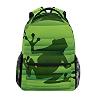 BENNIGIRY Abstract Green Frog Silhouette School Backpack Book Bag Travel Daypack