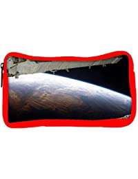 Snoogg Eco Friendly Canvas Earth View From Top At Night Designer Student Pen Pencil Case Coin Purse Pouch Cosmetic...