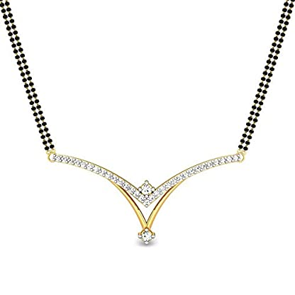 Candere By Kalyan Jewellers Erica 14k Yellow Gold and Diamond Mangalsutra Necklace
