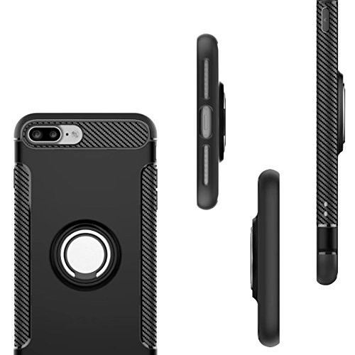 iPhone 8 Plus Hülle, iPhone 7 Plus Schutzhülle 360° Kickstand Magnetic Premium Silicone Bumper Case, Silikon TPU + PC Farbschichtschutz Handyhülle mit 360° Drehbarem Metallhalter, Tasche mit Grip Ring Silber