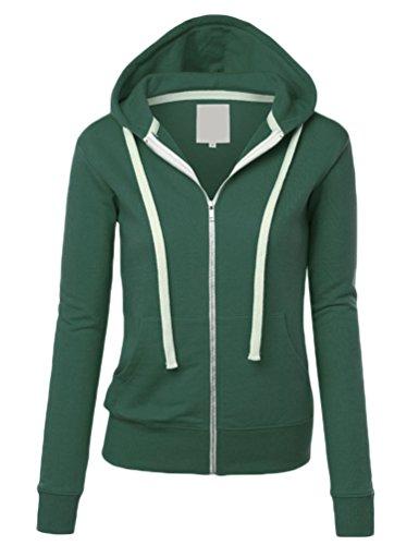 WanYang Veste Sweat Shirt à Capuche Et Fermeture Éclair Pour Femme Coloris Femme Veste A Capuche Manches Longues Sweat Shirt Pull Over Vert