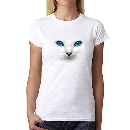 Ojos Azules Gato Blanco Animales Mujer Camiseta Blanco XL