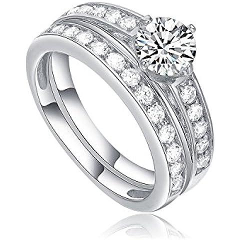 STARHARVEST da donna 2 in 1, in argento e zirconi, impilabile, con anello da fidanzamento in argento anello