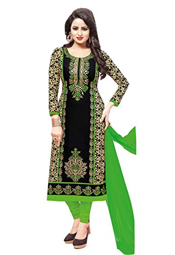 Ishin Cotton Black & Green Embroidered Unstitched Salwar Suit Dress Material (Anarkali/Patiyala) With Chiffon Dupatta