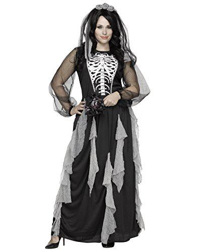 Skelett-Braut Plus Size Halloween-Damenkostüm schwarz-weiss (Fun Plus Size Kostüme World)