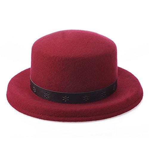 Lawevan® Femmes Cashmere Bowler Hats avec ceinture du vin