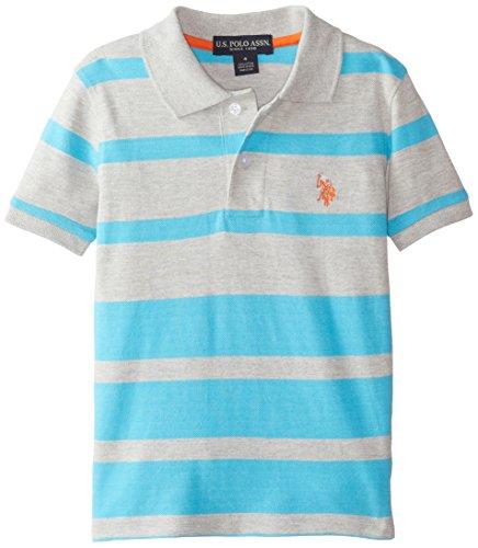 U.S. Polo Assn. Little Boys' Striped Pique Polo, Medium Heather Gray, 5/6 (Striped Boys Pique Polo)