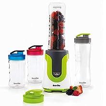 Breville Blend Active Personal Blender & Smoothie Maker | ColourMix Family | 4 x Portable Blending Bottles (600 ml | 300 ml) | 300 W [VBL240]
