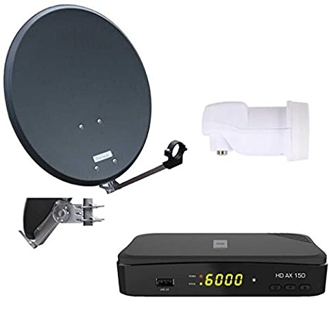 Opticum Digitale 1 Teilnehmer Satelliten-Komplettanlage (HD AX 150 HDTV-Receiver,Single-LNB, QA 60 cm Antenne, Alu) anthrazit