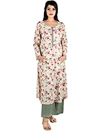 ANAYNA Women's Printed Cotton Straight Round Neck Front Button Pocket Style Kurtis For Party Wear Casual Wear...