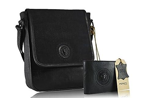 FERETI sacoche homme cuir noir avec portefeuille assortie collection lion 3D réglable courroie d'épaule