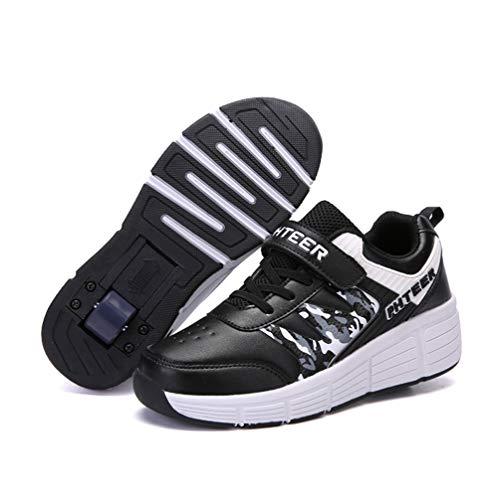 Homesave Kinder Schuhe mit Rollen Jungen Skateboardschuhe Mädchen Skateboard Schuhe LED Roller Skate Schuhe Sneakers Laufschuhe Sportschuhe mit Rollen für Mädchen Jungen,BlackSingle,35EU