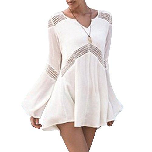 Pinkyee Damen Damen Sexy Long Sleeve Hohl V-Ausschnitt Beach Kleid Bademode Cover-Up Weiß - Weiß