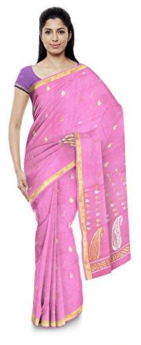Kota Doria Sarees Women's Kota Doria Handloom Cotton Silk Saree With Blouse Piece (Pink)