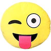 Icône Emoji Emoticône Smiley Jaune Ronde Coussin de Canapé épaulière d'oreiller peluche avec Remplissage (05)