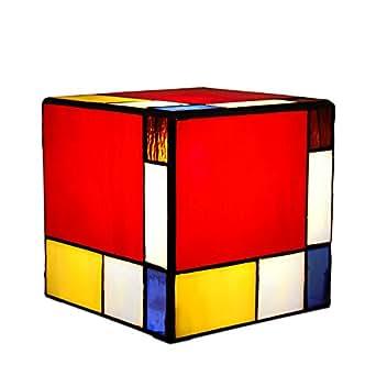 Arte dal mondo cube lampe cube mondrian verre style tiffany tP05041 de l'artisanat