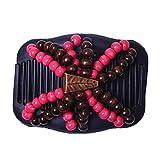 Lunji Damen Dehnbar Haarkämme, Multi-Funktions Haar-Clip, Magic Beaded Haarzubehör Magischer Kamm (Rose Rot)