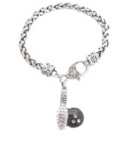 warz Kristall klar silber Kette Armband Fashion Jewellery (Black Bowling Ball)