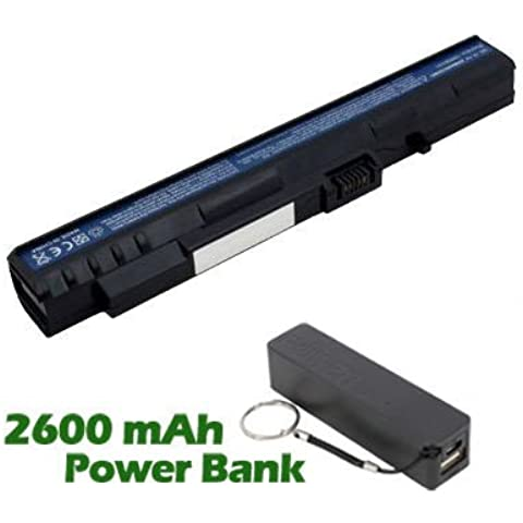 Battpit Batteria per notebook Acer Aspire One A110-1995 (2200mah / 24wh ) Corredato di 2600mAh Power Bank / Batteria Esterna (nero) per