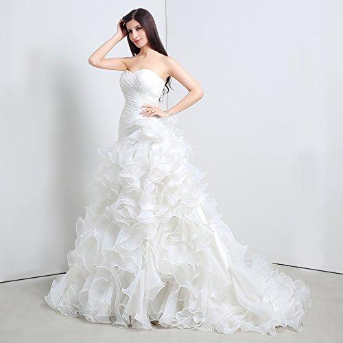 Bridal_Mall - Robe - Sans bretelle - Sans Manche - Femme Blanc - blanc