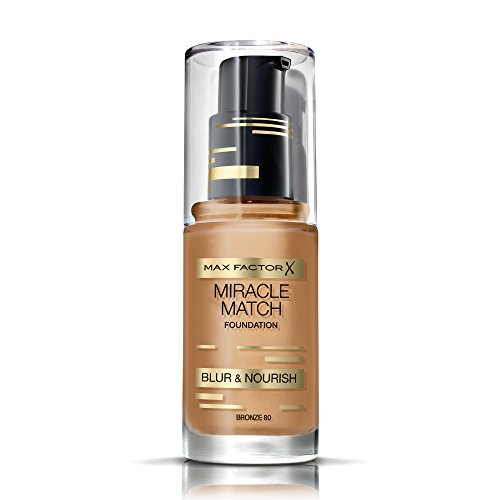 Max Factor Miracle Match Foundation Bronze 80 - Flüssig Foundation mit Weichzeichner-Effekt - Passt sich jedem Hautton an - 1 x 30 ml