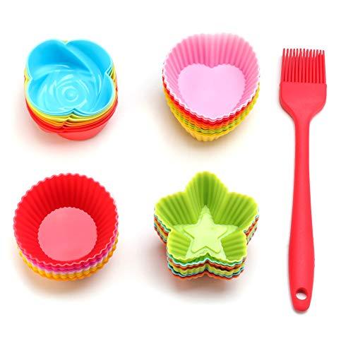 ieasky Silikon Cupcake Liner Wiederverwendbare Backförmchen Nonstick Easy Clean Gebäck Muffin Formen 4 Formen rund, Sterne, Herz, Rosen, mit Backpinsel, 41 Stück bunt (Folie Herz-backförmchen)