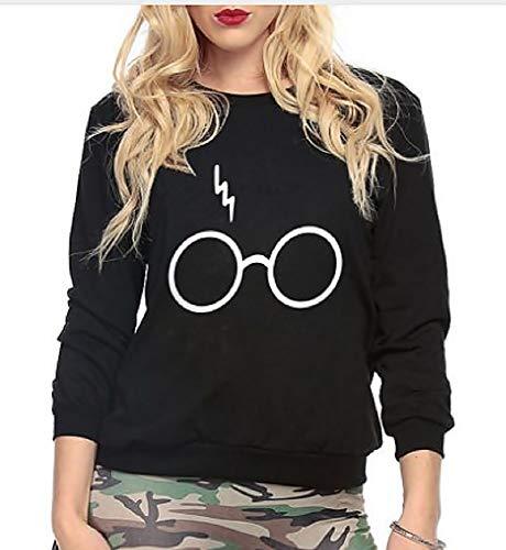 Sweatshirt - Pullover Print Logo Harry Potter Mädchen Damen Brille Blitz Schwarz (Größe S)
