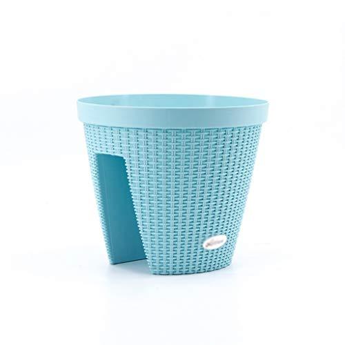 CBing-Indoor decorations Balkon-Blumentopf, Imitation Rattan Weben Blumentopf Geländer Leitplanke Kunststoff Runde Blumentopf Multi-Color optional (Farbe : Ice Blue) Ice Blue Vase
