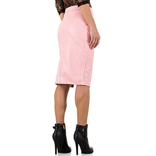 Lederoptik Bleistift Midi Rock Für Damen bei Ital-Design Pink