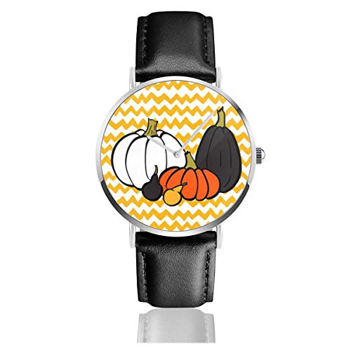 Business Analog Watches, Halloween Colorful Pumpkins In Circle.Classic Stainless Steel Quartz Waterproof Wrist Watch with Leather Strap