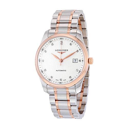 Longines elegante plata diamante Dial Acero y Oro Rosa Reloj para hombre l27935777