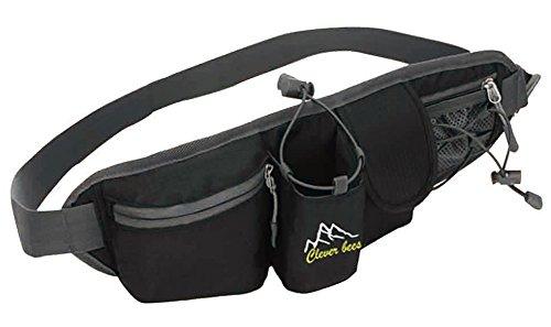Baymate Multi-Function Außen Mit Wasserflasche Nylon Gürtel Sports Einsatz Reißverschluss Tasche Schwarz