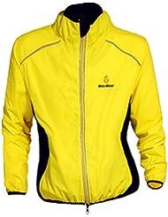WOLFBIKE Veste maillot de Cyclisme Hommes equitation respirant Manteau coupe-vent Vetements de velo a manches longues (Jaune,3XL)