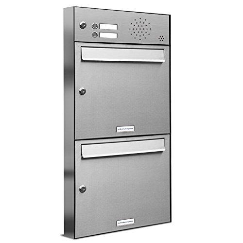 AL Briefkastensysteme 2er Briefkastenanlage mit Klingel, Edelstahl, Premium Doppel-Briefkasten DIN A4, 2 Fach Postkasten modern Aufputz
