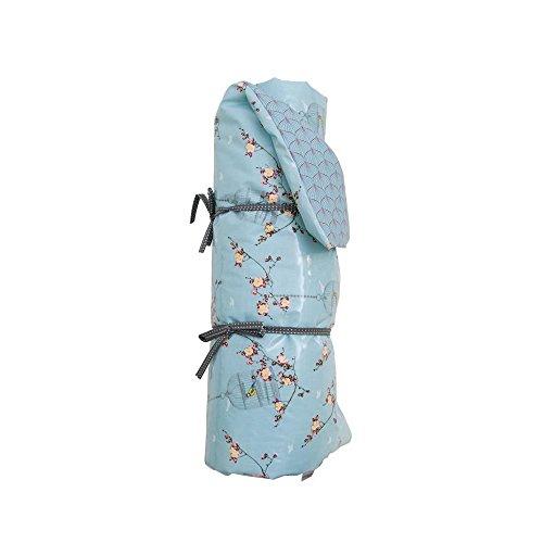 A.U MAISON Picknickdecke Cherry Blossom KIRSCHBLÜTEN blau, wendbar, 70x180cm