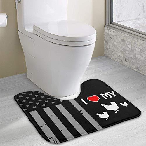 Hoklcvd Ich Liebe Meine Hühner U-förmige Toilette Bodenteppich Rutschfeste Toilette Teppiche ()