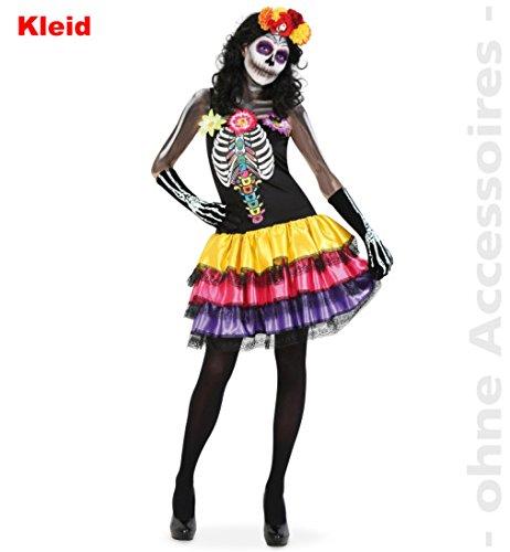 Catrina Zombie Halloween Horror Kleid DIA DE LOS MUERTOS 1tlg. mit Skelettdruck Teenie Damen Kostüm 38