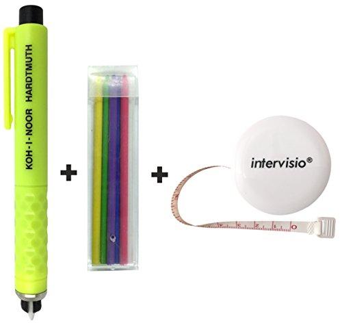 intervisio 1 Meter Maßband Ausziehbares + KOH-I-NOOR S128PN8004BL Schneiderkreide / Kreidestift Kunststoff / Farbig Sortiert - Bundle