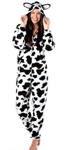 Grenouillère Onesie Nouveauté à Capuche Motif Imprimé Animal Femme (Vache) 48-50